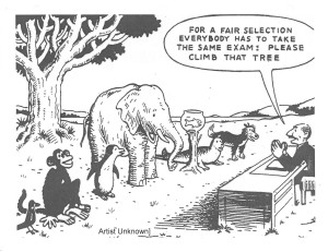 "Comic of zoo animals standing in front of a man who says, ""For a fair selection everybody has to take the same exam: Please climb that tree"""