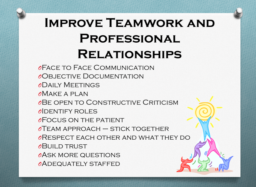 A list of ways to improve teamwork and professional relationships