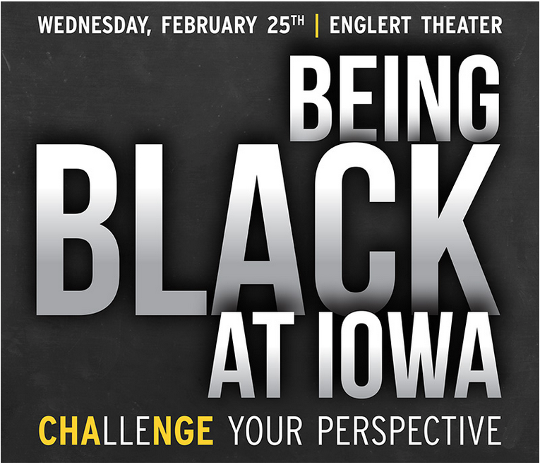 Promotional sign for Being Black at Iowa