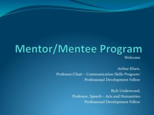 Title slide for Mentor/Mentee Program